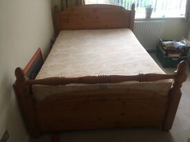 Pine double bed with 4 draws and mattress