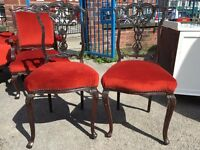 Old Pair Of Bedroom Chairs - Fireside Chairs - Vintage / Antique Chairs - French / Ornate Chairs - 2