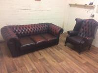 Oxblood Chesterfield sofa + chair (free delivery)
