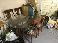 Large dining table with 4 chairs - wooden with easy clean glass - collection only!