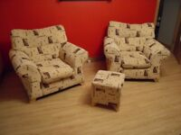 3 SEATER SOFA and 2x ARMCHAIRS and POUFFE