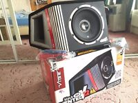 1600W VIBE BLACK AIR VENTED V12 ACTIVE SUBWOOFER BUILT IN AMPLIFIER SUB AMP FULL FREE WIRING KIT
