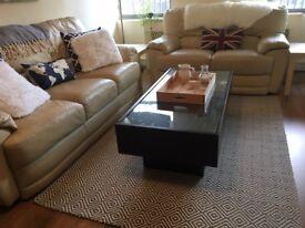 Ikea Ramvik - Dark Brown Glass-Top Coffee Table with Drawers