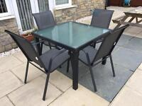 Garden Table and four stacking chairs