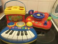 BABY / TODDLER TOYS - 3 X TOYS - SHAPE SORTER / BATTERY PIANO ECT