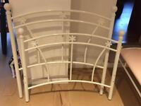 Girls white metal bed frame + bench