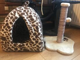 Cat igloo bed And cat scratching post