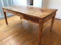 Solid oak dining table rustic farmhouse