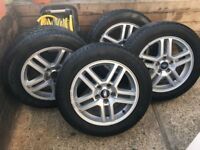 """SET OF 4 FORD C MAX 16"""" ALLOYS WITH NEWLY FITTED 205x55x16"""" TYRES"""