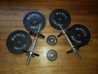 Gym weights - Marcy Cast Iron Dumbbell Set with spinlock collars - Good Condition!