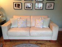 Cream leather handmade metal action sofa bed.