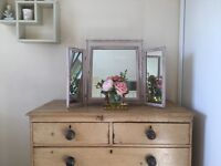 Pink & Gold Vintage Upcycled Triple free standing dressing table mirror
