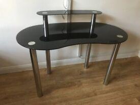 Home Matrix Black Glass 2 Tier Desk