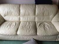 Cream 3 seat leather sofa - free