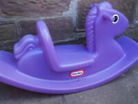 LITTLE TIKES RIDE-ON OUTDOOR ROCKING HORSE, PURPLE, GOOD CONDITION