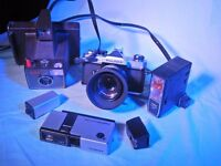 3 Vintage cameras For Sale : Hanimex mini 110 , Fujica st605n & Polaroid Super Swinger.