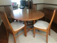 G plan oval drop leaf dining table and 4 chairs