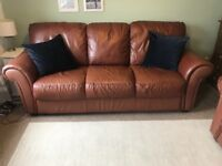 Brown leather sofas 3 and 2 seater