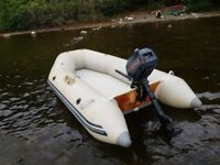 Inflatable dinghy 2.4m with 2hp Evinrude outboard