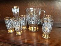Vintage glass jug, vase and glasses