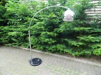 Large Arched Chrome Floor Lamp With A Solid Marble Base
