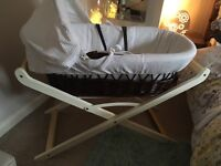 Lovely white Moses basket with stand