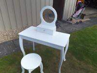 Childrens White Dressing table and stool