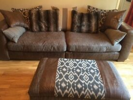 DFS Shelbourne 3 Seater, cuddler Sofa And footstool