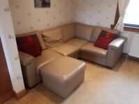 Leather corner suite with leather 2 seater