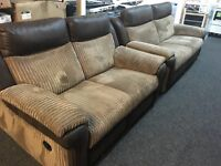 Lazboy Recliners 3 Seater + 2 Seater Sofas Brown Half Leather (EX DISPLAY / NEW)