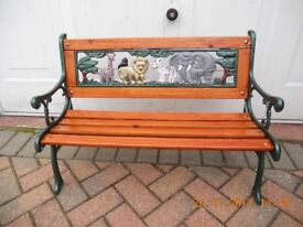 Cast Iron Bench Childs Animals on Back Plate!