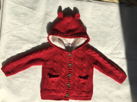 Girl's Clothings:red knitted coat with hood, size 1-1&1/2 years,M&S.