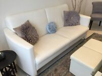 White Leather Sofa - Two seater and armchair - From Netherlands - In very good condition - Bargain!