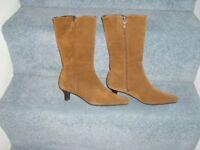Calf length tan suede ladies boots.