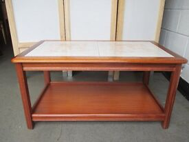VINTAGE SUNELM TEAK TWO TIER TILE TOP COFFEE TABLE FREE DELIVERY