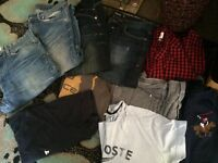 4 pairs of jeans, 6 tops, jacket and watch
