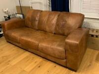 Tan Leather Sofa, 3 Seater