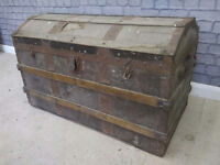 Large Antique Captains Chest Wooden Chest Pirate Chest Coffee Table Shabby Chic
