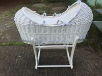 cotbed, travel cot (used once or twice), baby changing dresser, small rocking chair moses basket