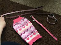 PUPPY/SMALL DOG JUMPER AND COLLAR + LEAD SET :) AND SINGLE COLLAR £7 FOR ALL