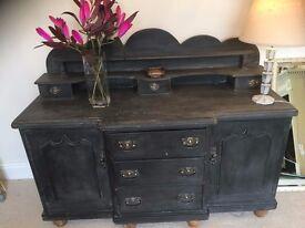 Antique Pine Chiffonier Sideboard Dresser in Annie Sloan Graphite Chalk Paint