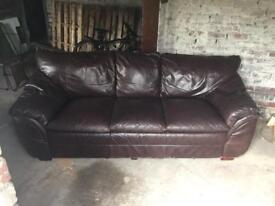Free three seater couch, Brown leather.
