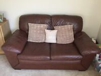 2 seater brown leather sofa and single recliner chair for sale