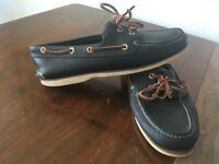 Blue leather Timberland Boat Shoes