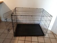 Dog Crate as new, large, black, single door, folds flat