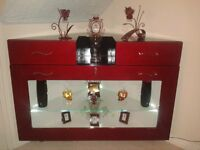 Unique Hand made Red corner display cabinet