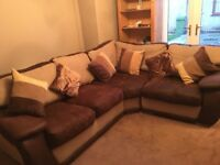 L shape Sofa brown fabric sofa.