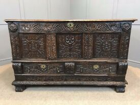 18th Century Mule Chest Antique Heavily Carved Oak Coffer Blanket Box Trunk Rare Jacobean Style