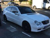 VERY RARE, in WHITE, Mercedes Benz C180 Kompressor Coupe For Sale £1175 ONO