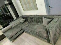 🔵MAKE THE COMFORT DEAL🔴Florence sofa-plush velvet left/right hand corner sofa-in grey color